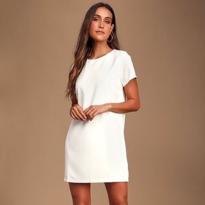 Lulu's Shift and Shout Ivory Shift Dress